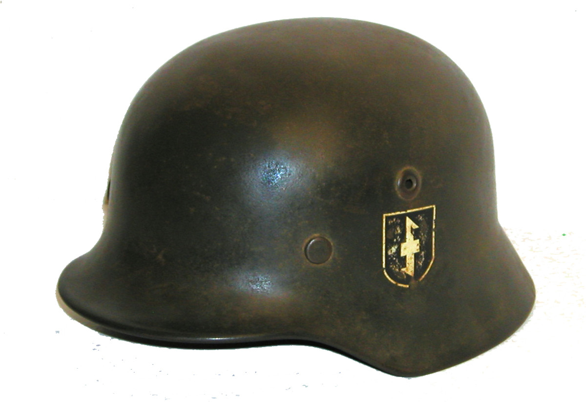 "This German M-40 helmet features the Dutch NSKK Weer Afdeelingen (""Wolf's Hook"") decal of the Dutch pro-German volunteer forces from WWII."