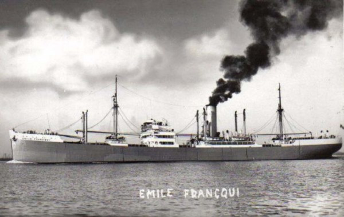At 20.13 hours on 16 Dec 1942 the Emile Francqui (Master F. Paret) in convoy ON-153 was torpedoed and sunk by U-664. The ship carried 70 crew members (55 Belgians), 11 passengers, and six gunners.