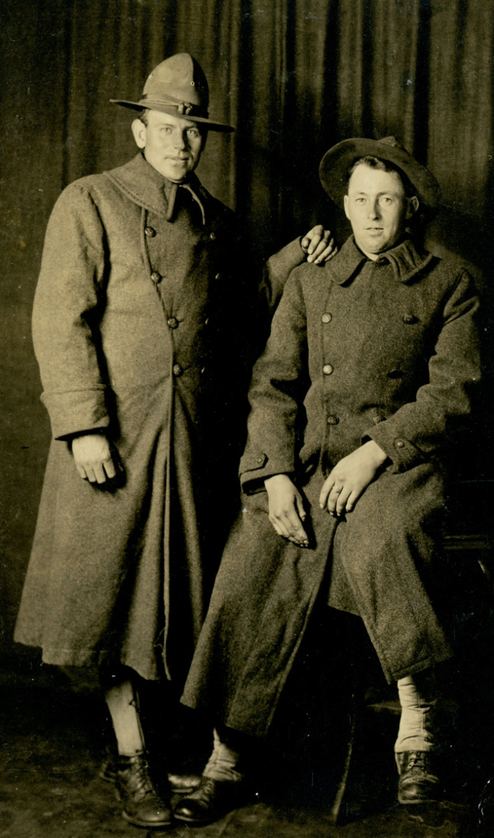 Julius Coninx (left) came to the United States in 1910 with his 7 siblings and two parents. His father had hoped to avoid conscription for his sons. Julius was inducted into the US Army in 1917.