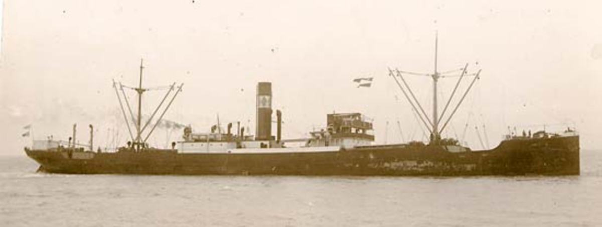 Dirphys (Master Nicholas Zambelis)was hit on starboard side amidships by one G7e torpedo from U-108 about 550 miles east of St. John's, Newfoundland.