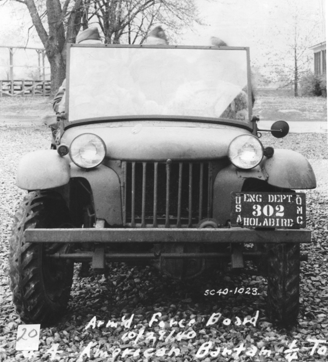 Taken at Camp Holabird, this view of the Bantam prototype clearly shows the graceful curved fenders. These soon gave way to the characteristic flat fenders.