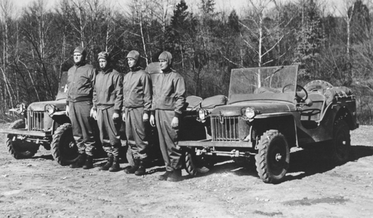 Most likely photographed at Fort Knox, this pair of Bantam Mark II, Model 60 reconnaissance vehicles was posed with a motorcycle and the scouting troops assigned to the bikes. The Bantams and their successors would permanently alter the role of motorcycles in the U.S. Military.