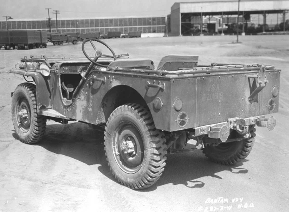 The slab-sided body of the Bantam was festooned with grab handles crucial to meeting the specifications for a vehicle that was capable of being man-handled. Interestingly, many people see the HMMWV as a decedent of the Jeep, even though it's unlikely that the latter could be manhandled, regardless of the number of handles.