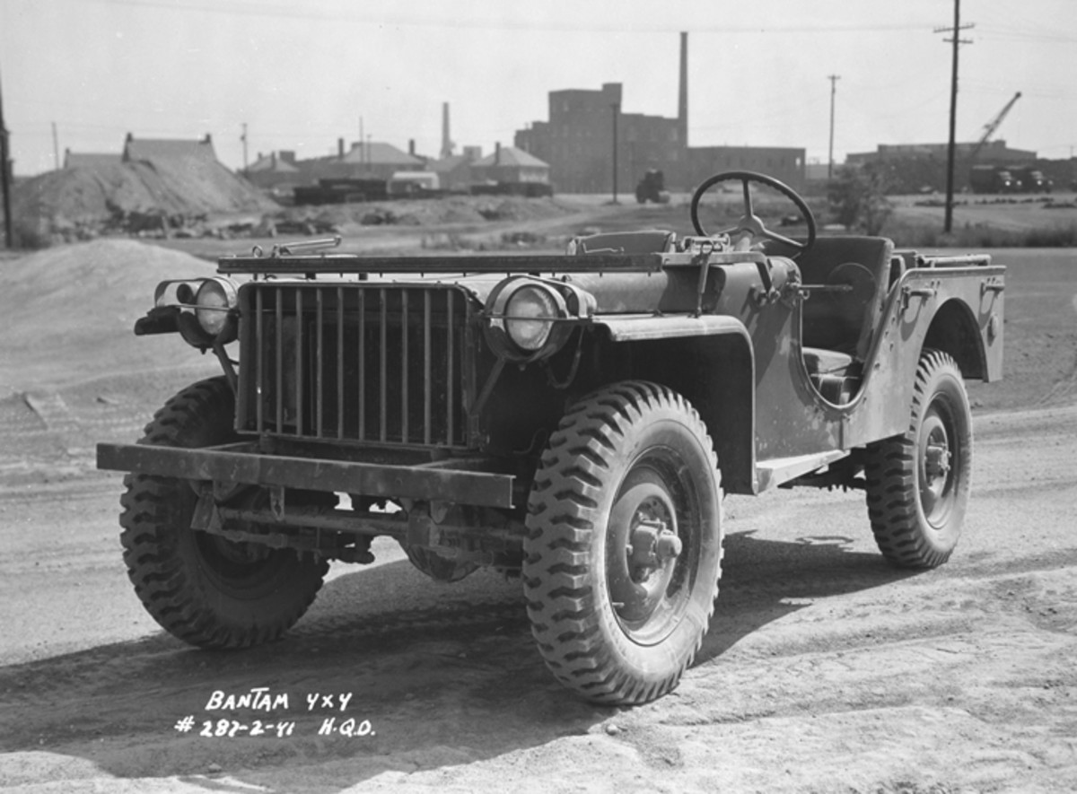 The Bantam BRC-40 looked much more like what we have come to view as the traditional Jeep than did earlier models. The Reconnaissance Car was powered by a Continental four-cylinder engine with a 112-cubic inch displacement. The Spicer 40 axles were coupled to the engine through a three-speed Warner T-84D transmission and a two-speed Spicer transfer case.