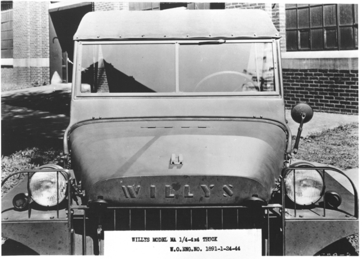 """The MA is readily distinguished by the """"WILLYS"""" embossed in the front of the hood. This feature, as well as the fender-mounted headlights, would vanish with the introduction of its successor, the MB."""