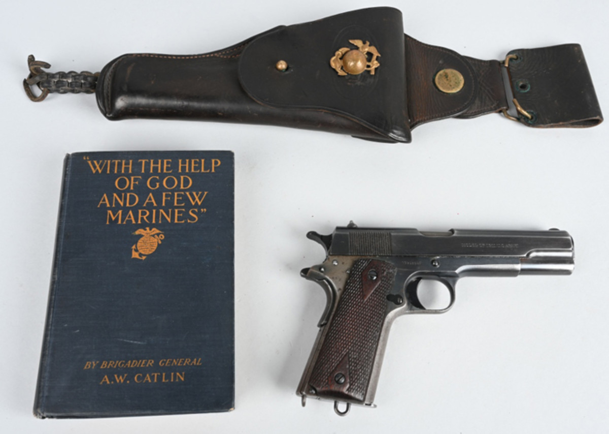 Rare WWI US Marine Corps Colt 1911 pistol, .45 ACP caliber, all correct parts, one of only 2,400 such guns shipped to the Corps in 1917 after America's entry into the war.
