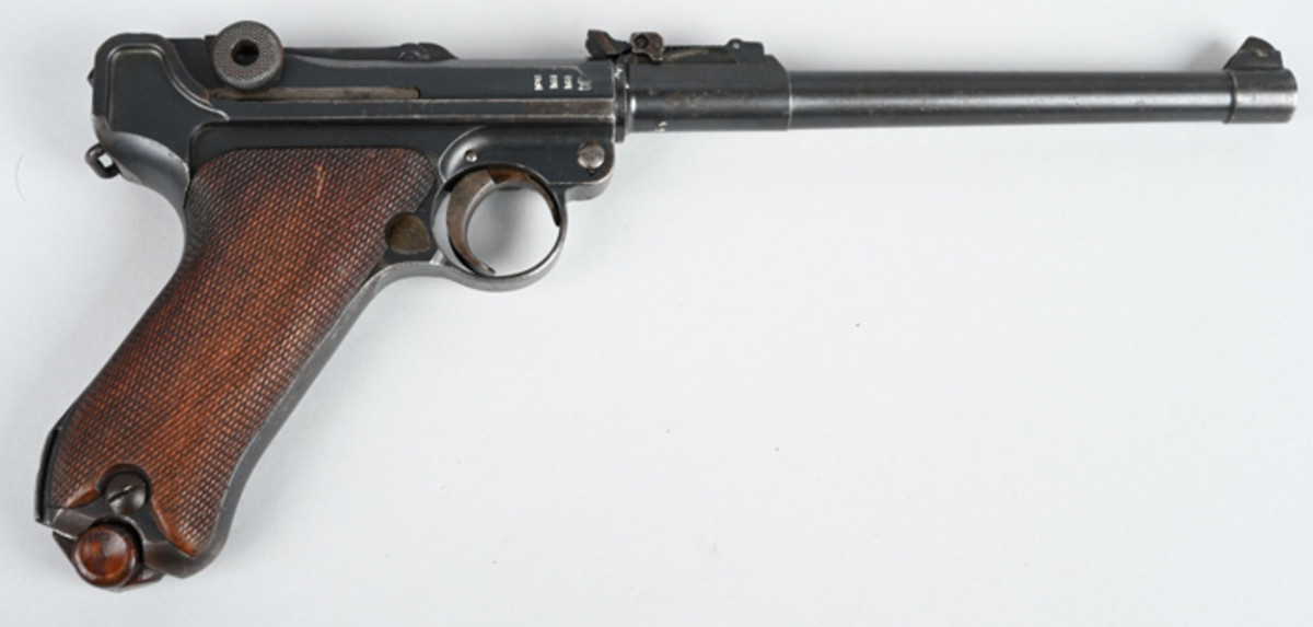 9mm Artillery Luger from 1914 series and made until 1918, 8-inch barrel, adjustable long-range rear sight to 800 meters and cut for shoulder stock.
