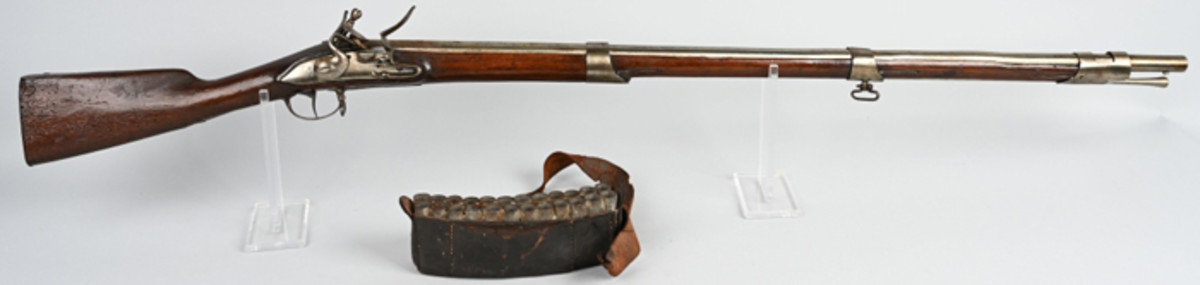 1760 American Revolutionary War Dutch flintlock musket, 69 bore, 40¾-inch barrel. Several thousand of these arms were shipped to Massachusetts with the help of Benjamin Franklin. Comes with period leather and tin cartridge box with waist belt.