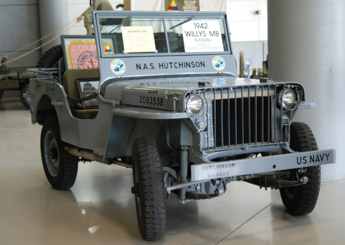 """1942 """"slat grille"""" Willys MB in gray paint."""