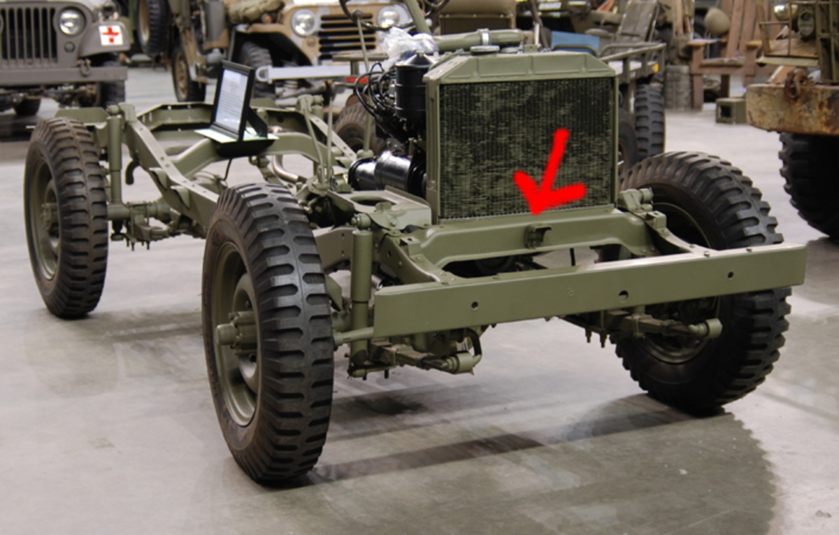 As a rule, the most readily spotted difference between the MB and the GPW involves the front cross member. This is a tubular member on Willys vehicles, and an inverted U-channel (pictured) on the Ford.