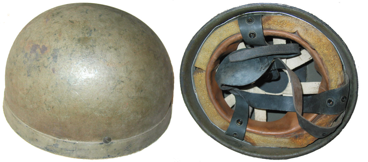 The original British paratrooper helmet featured a non-magnetic manganese steel shell with a rubberized rim.