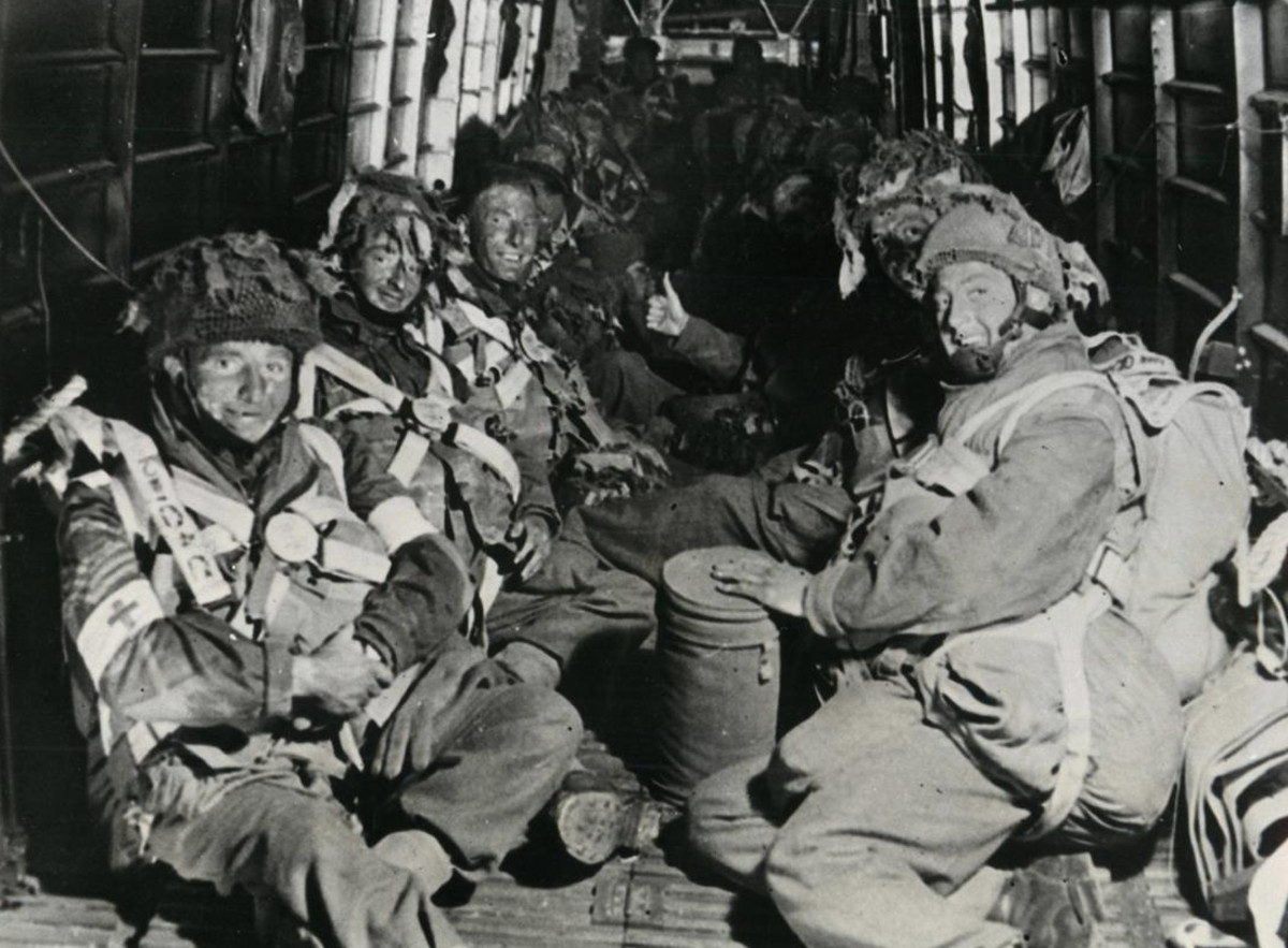 British paratroopers on their way to France as part of the Normandy invasion spearhead.