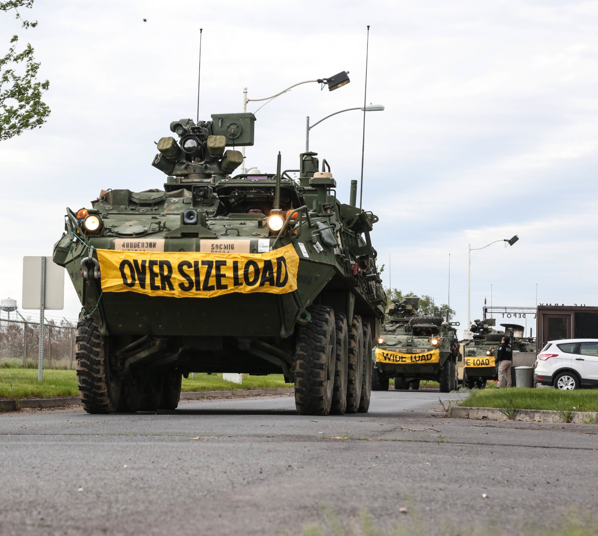A convoy of Stryker armored vehicles enter the U.S. Army Chemical Depot during the Dragon Fire exercise, Umatilla, Ore., May 6, 2017. Dragon Fire is a bilateral exercise between the 48th Chemical, Biological, Radiological, and Nuclear (CBRN) Brigade and the German Bundswehr CBRN Defense Command. It also serves as the culmination training event and validation exercise for the 22nd CBRN Battlion.