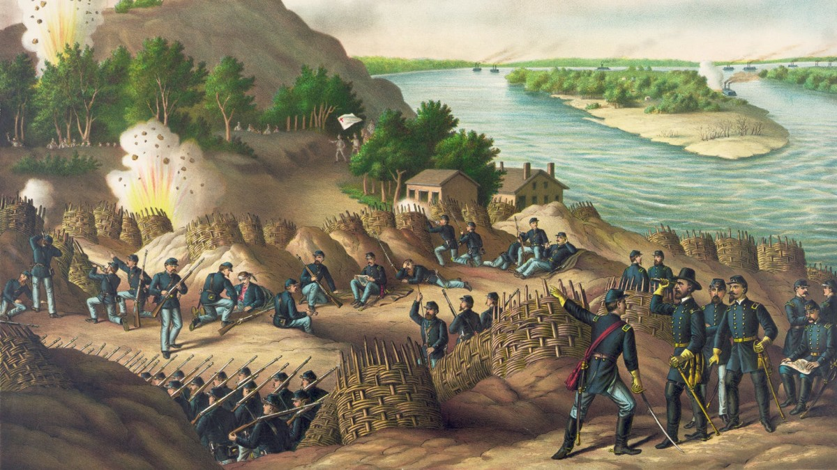 Siege of Vicksburg Lithograph by Kurz & Allison, Art Publishers, Chicago, ca. 1888.