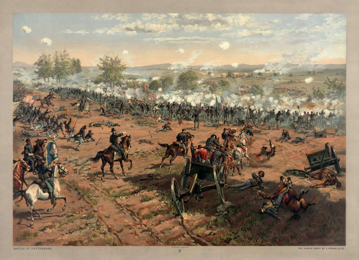 "L. Prang & Co. print of the painting ""Hancock at Gettysburg"" by Thure de Thulstrup, showing Pickett's Charge. Restoration by Adam Cuerden. This is a retouched picture, which means that it has been digitally altered from its original version."