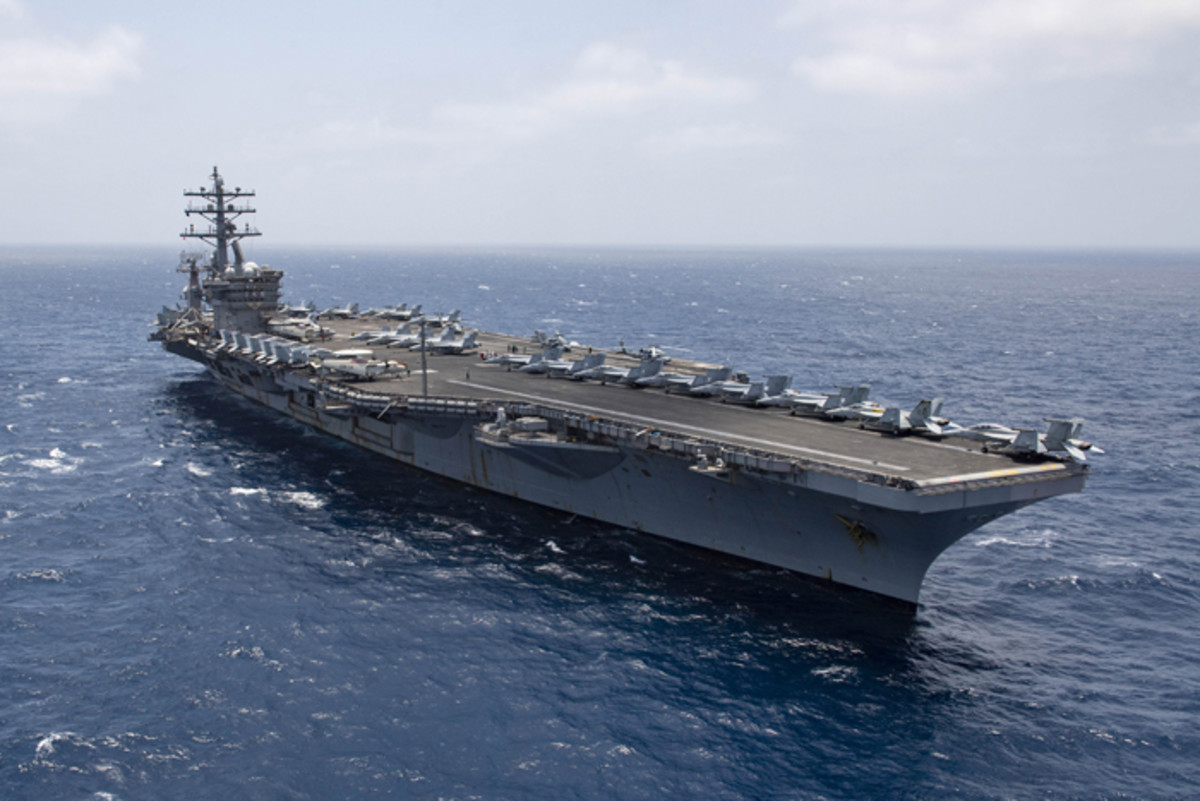 ARABIAN SEA (June 12, 2020) The aircraft carrier USS Dwight D. Eisenhower (CVN 69) transits the Arabian Sea, June 12, 2020. Ike is deployed to the U.S. 5th Fleet area of operations in support of naval operations to ensure maritime stability and security in the Central Region, connecting the Mediterranean Sea and Pacific Ocean through the western Indian Ocean and three critical chokepoints to the free flow of global commerce.