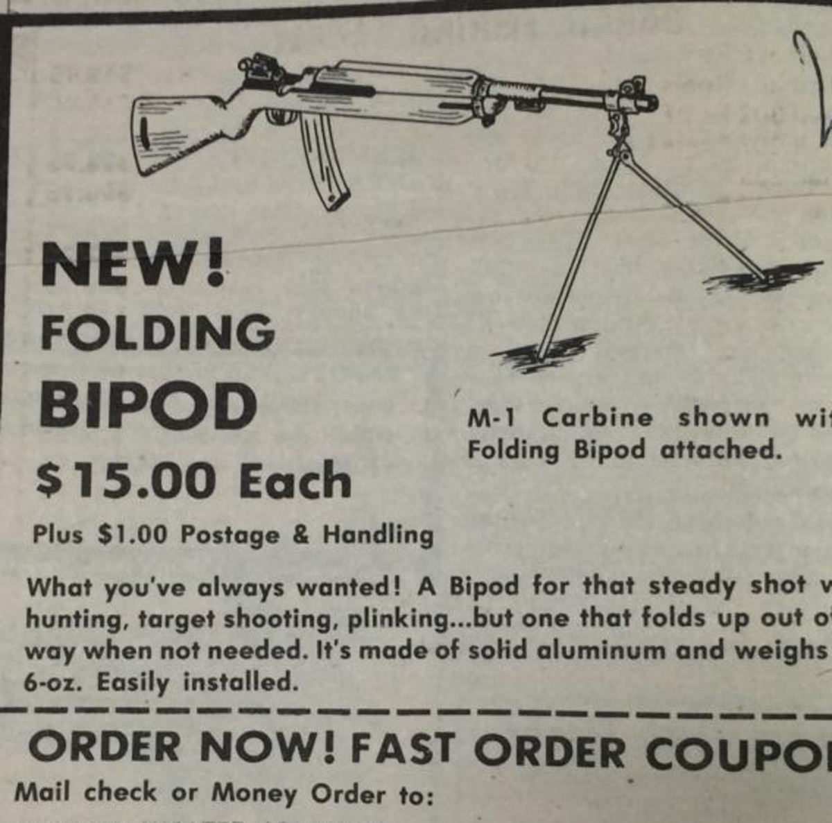 Vintage ad from Shotgun News selling M1 carbine bipods for just $15!