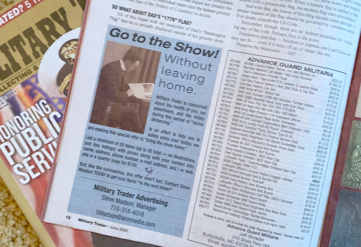 "Snapshot of Military Trader's ""Go to the Show without Leaving Home"" ad campaign."
