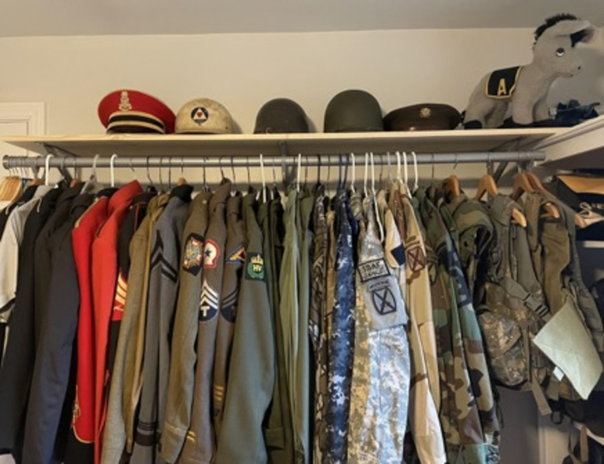 Though Deven started out collecting gas masks, she has expanded to uniforms with an emphasis on military bands. She had collected 10th Mountain material specifically related to service in Afghanistan.