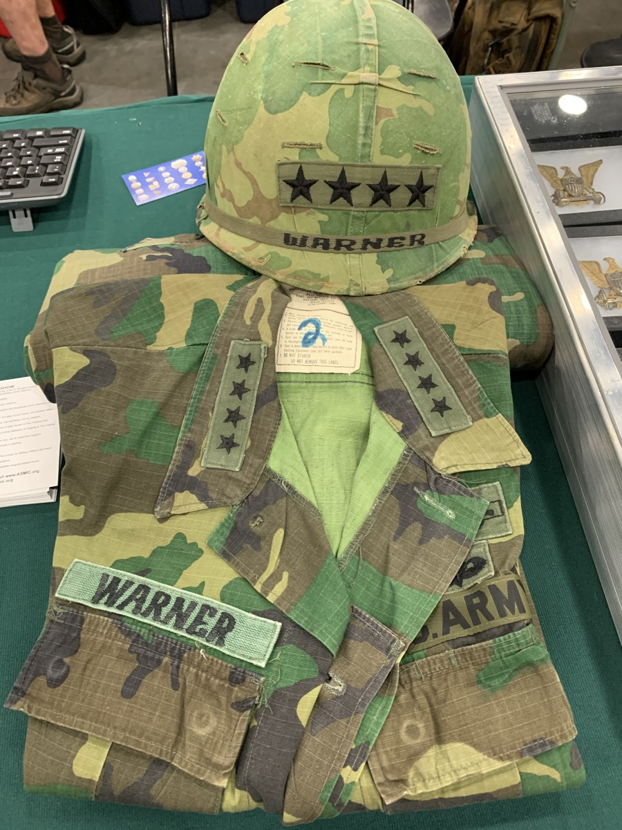 Photographed at the 2021 Show of Shows, General Warner's uniform and helmet are some of the types of items featured on HABonline.com. Whereas militaria is a main column of the site, antique collectibles of a multitude of categories are also presented.