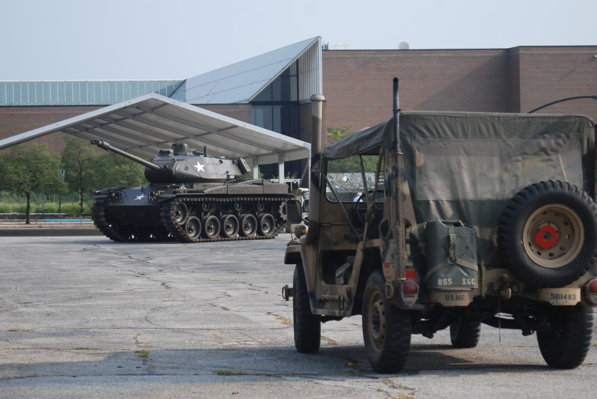 M41 Walker Bulldog and M151 outside the Convention Center in South Bend, Indiana.