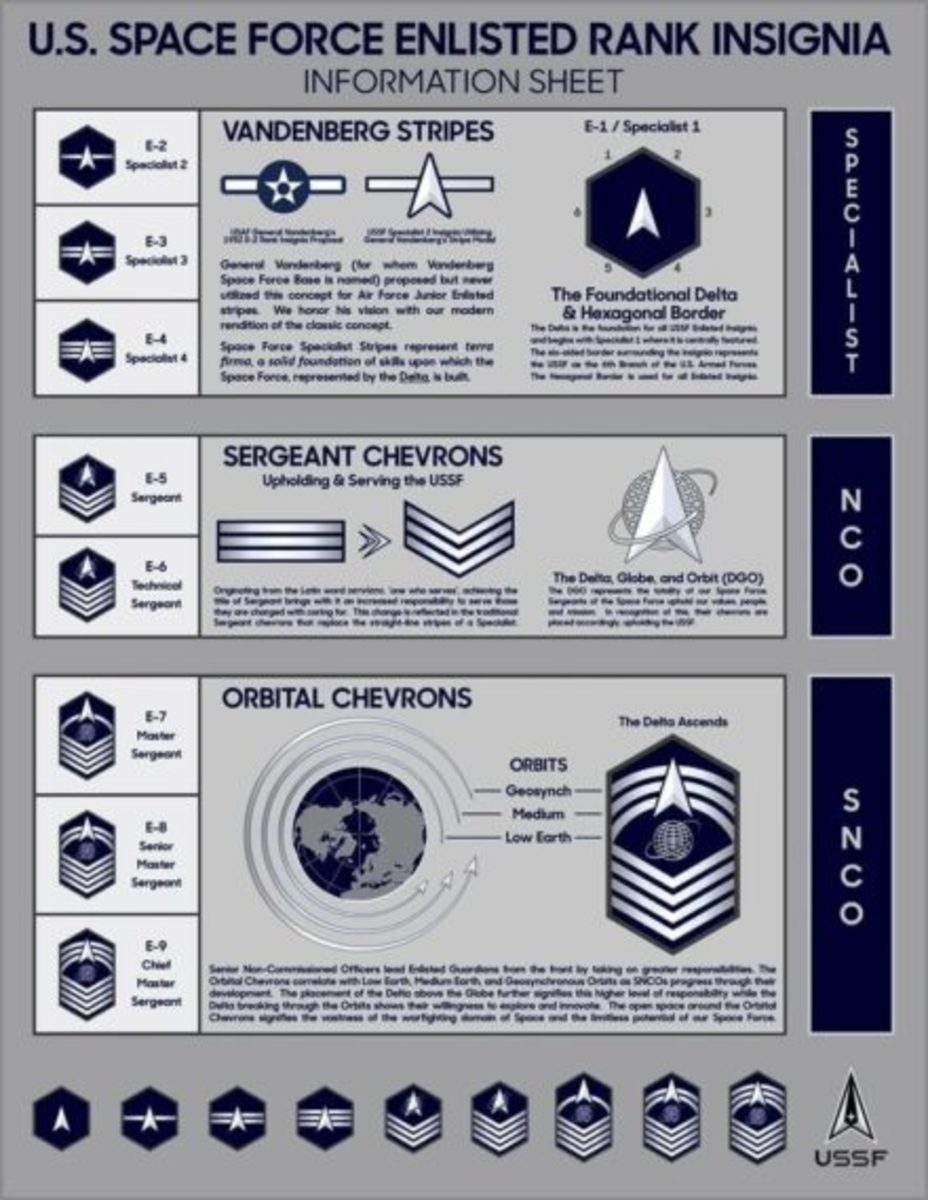 Information sheet reveals the meaning of the symbols used in the new USSF's rank insignia