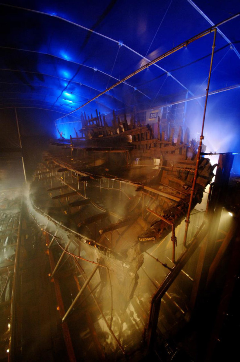 The Mary Rose within Dry Dock No. 3 at Portsmouth Historic Dockyard that has been her home since 1982