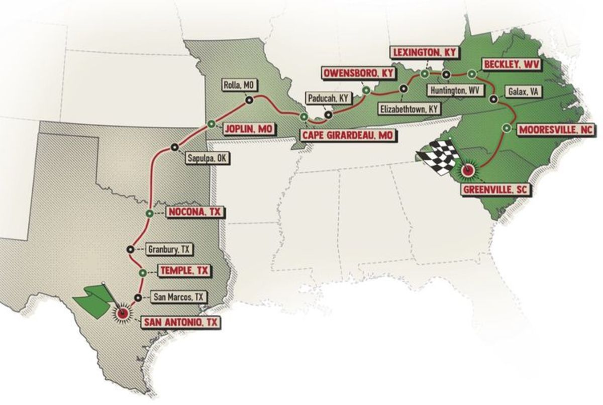The 2,300-mile trek began in San Antonio, Texas, and wound its way over nicne days to end in Greenville, South Carolina.