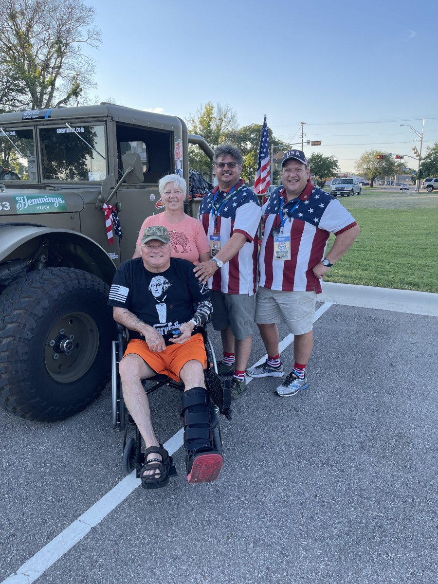 The motivation for driving a vintage Army truck cross-country: To honor veterans. Celia and Spina were moved by the all of the veterans who stopped to thank them for representing and remembering them.