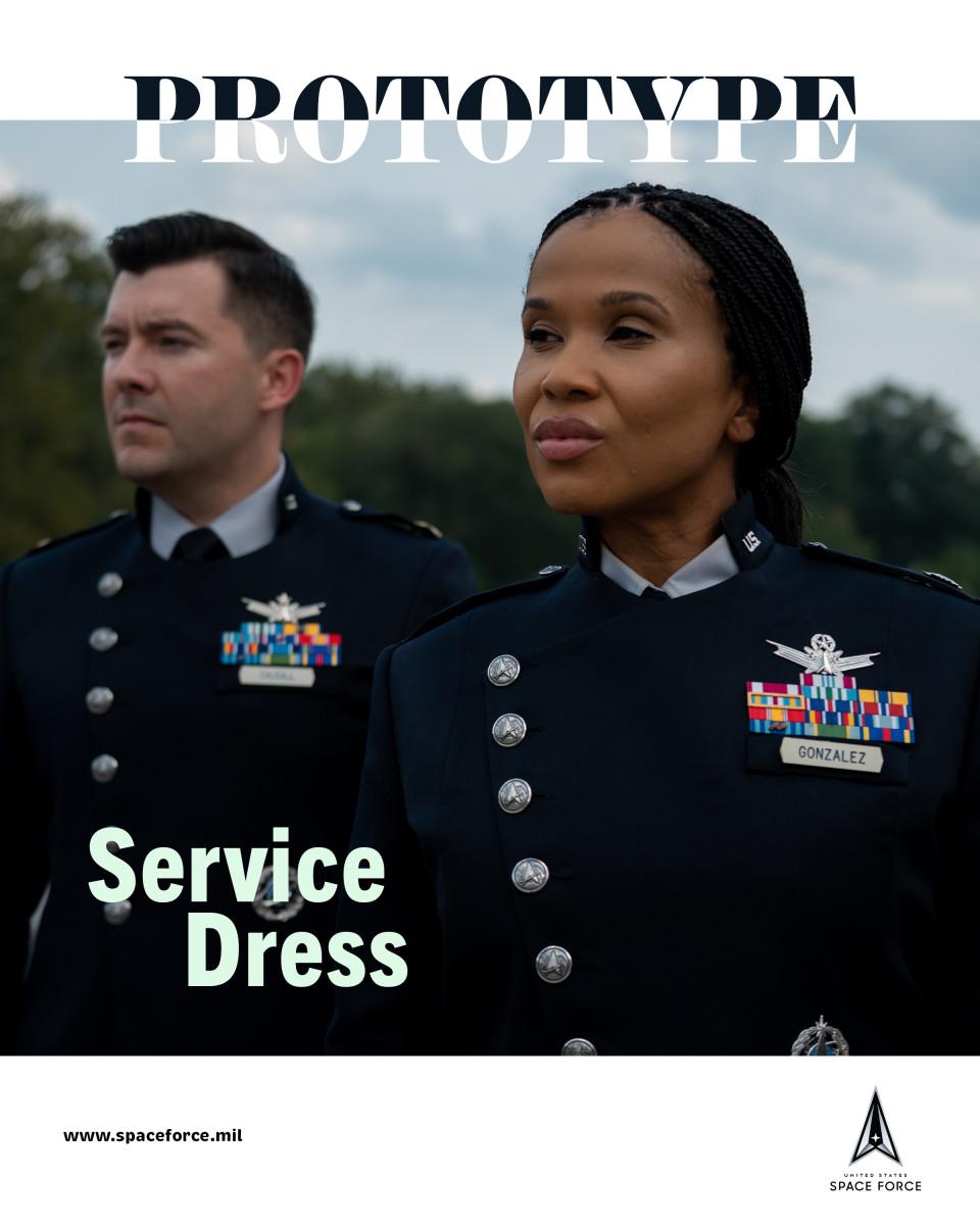 "Screenshot of a tweet, @SpaceForceCSO Gen. John W. ""Jay"" Raymond unveiled the Guardian Service Dress prototype a modern, distinctive, professional uniform during the @AirForceAssoc's #ASC21."