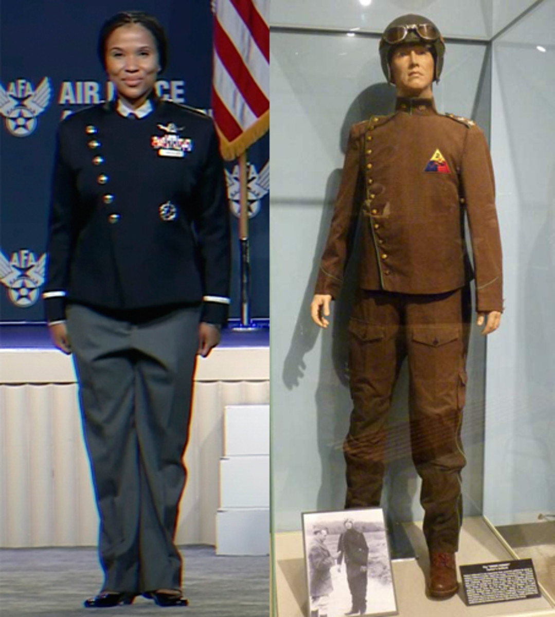 Left: The prototype design of USSF's uniform revealed on Sept. 21, 2021. On the right, a reconstruction of General Patton's design for the new Armored Branch's uniform from the 1930s.