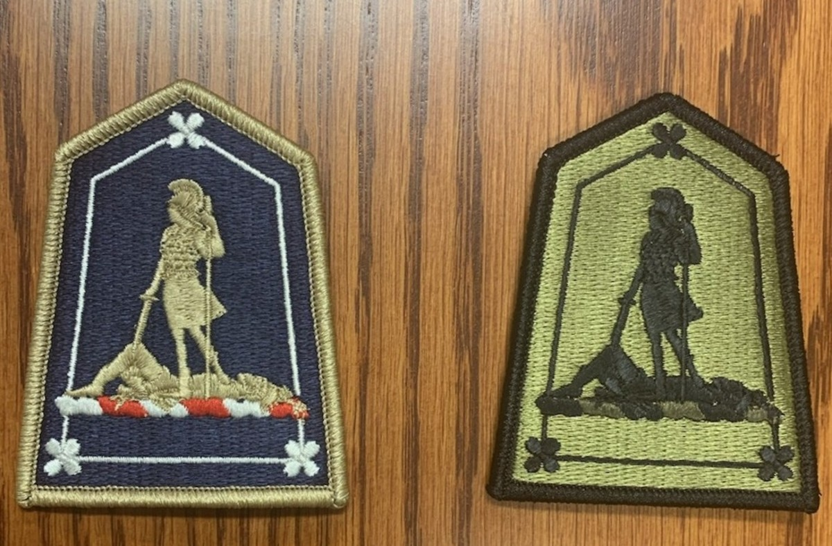 For comparison, the dress uniform and subdued versions of the patch; the figures and symbolism were taken from the Virginia State Seal which was designed in 1776.