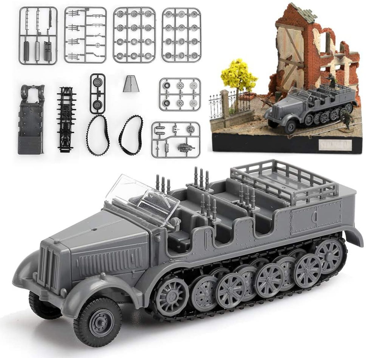 Plastic model kit builds a reasonable transporter for your German troops or 88mm gun. — Just five bucks!