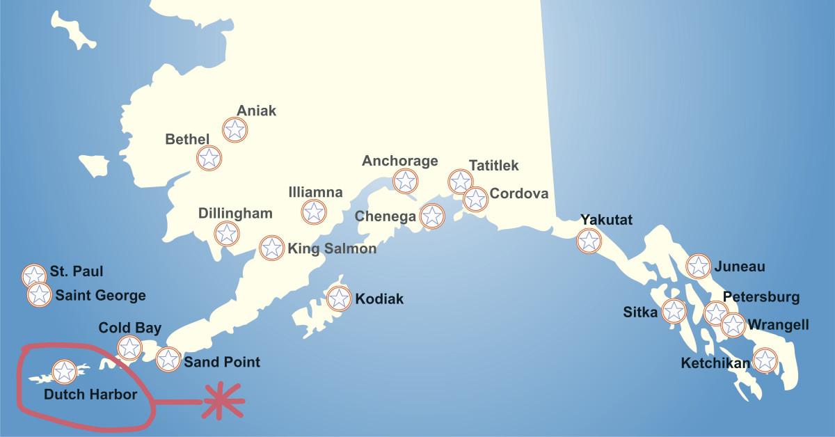 Map of Alaska with Dutch Harbor circled.