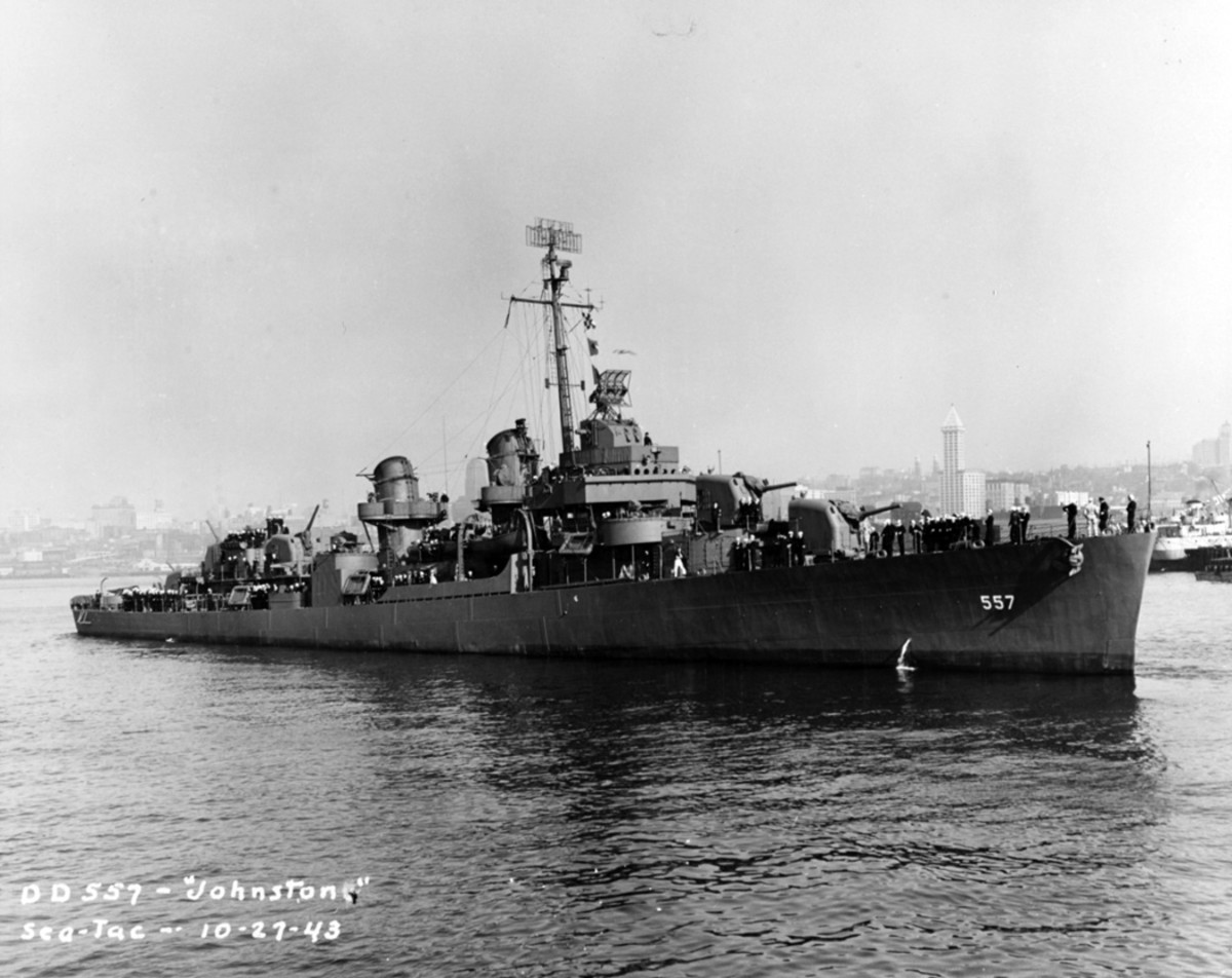USS Johnston (DD-557) off Seattle or Tacoma, Washington, 27 October 1943.