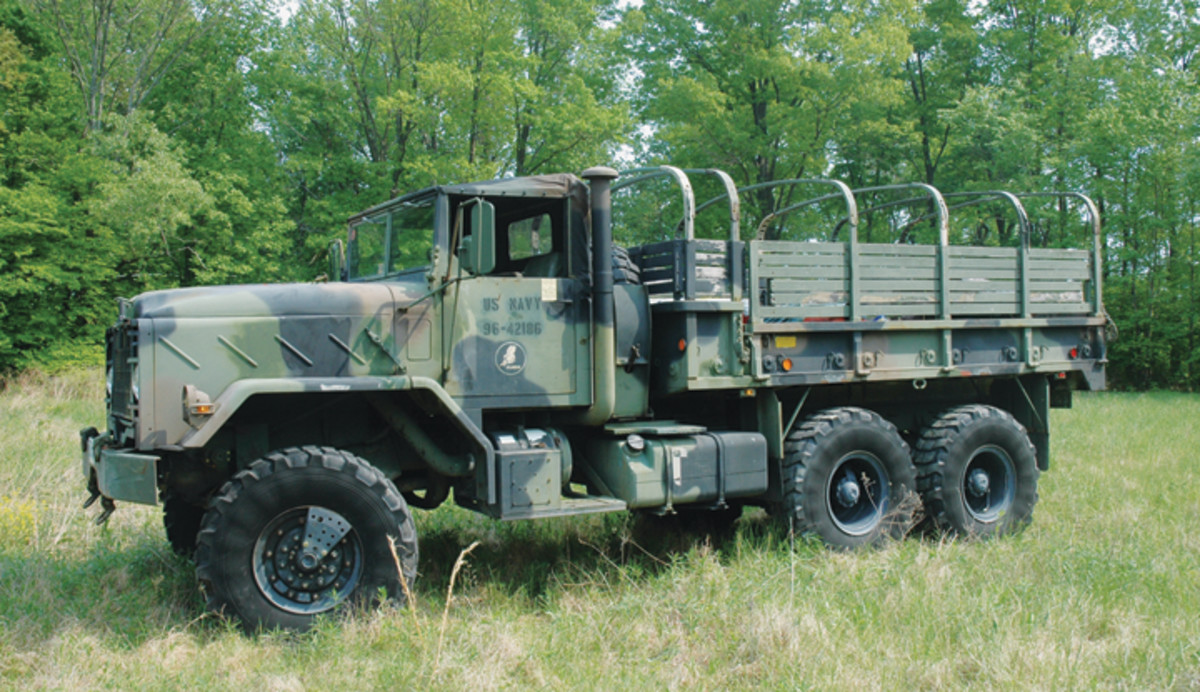 The base vehicle for the Army's new series 5-ton cargo trucks was the M923 cargo truck. The same truck with a fixed-side body was named the M924.