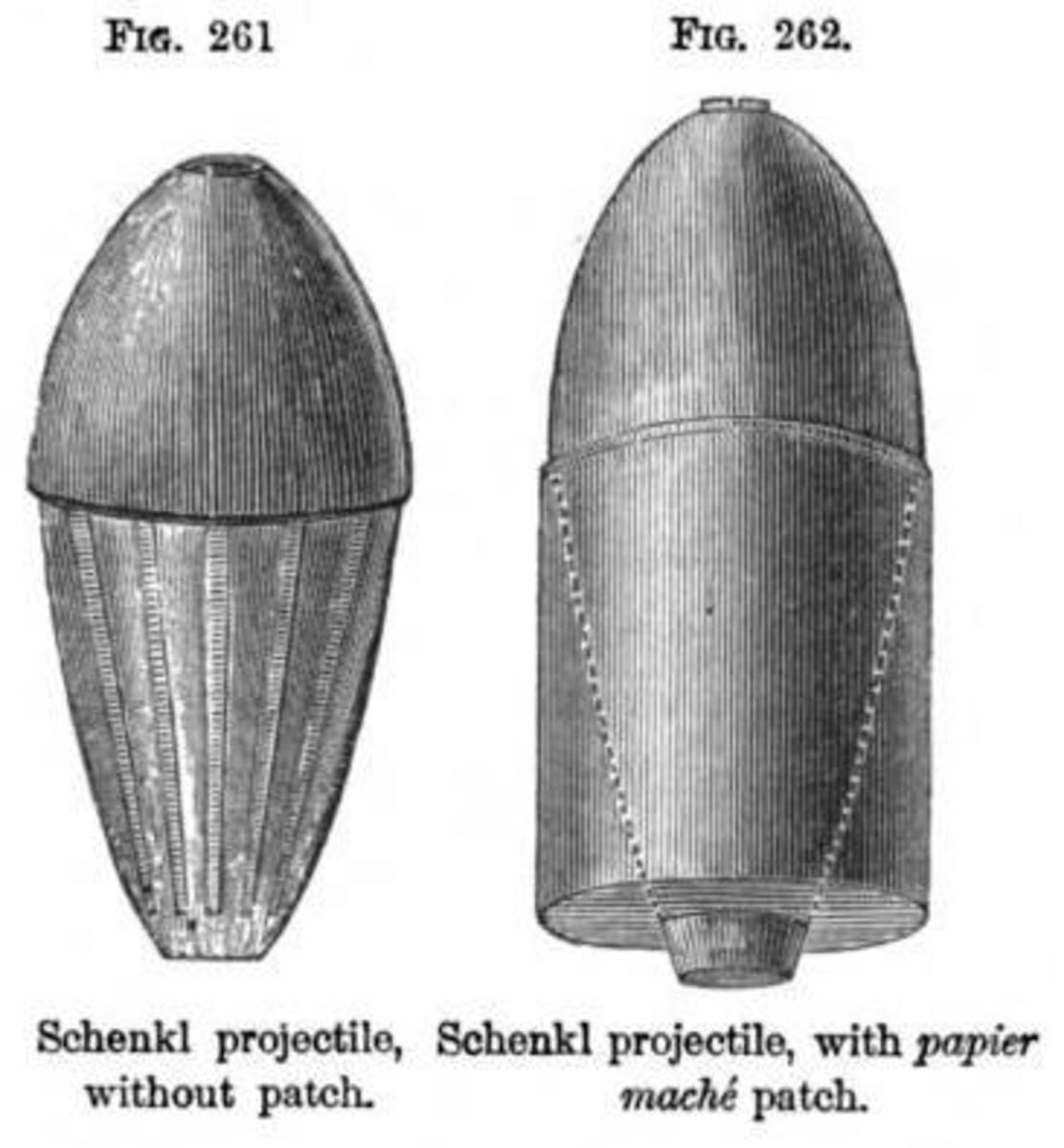 Ffrom A Treatise on Ordnance and Armor, by Alexander Lyman Holley, published 1865 by Trübner & Company, this illustrates the Schenkl projectile, a streamlined shell used by Union forces in the Civil War.