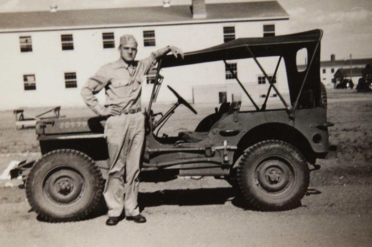 "Caption on the reverse reads, ""Milton's [J.M. Graf] first Army car, Sept 1942, Camp Carson, Colorado."