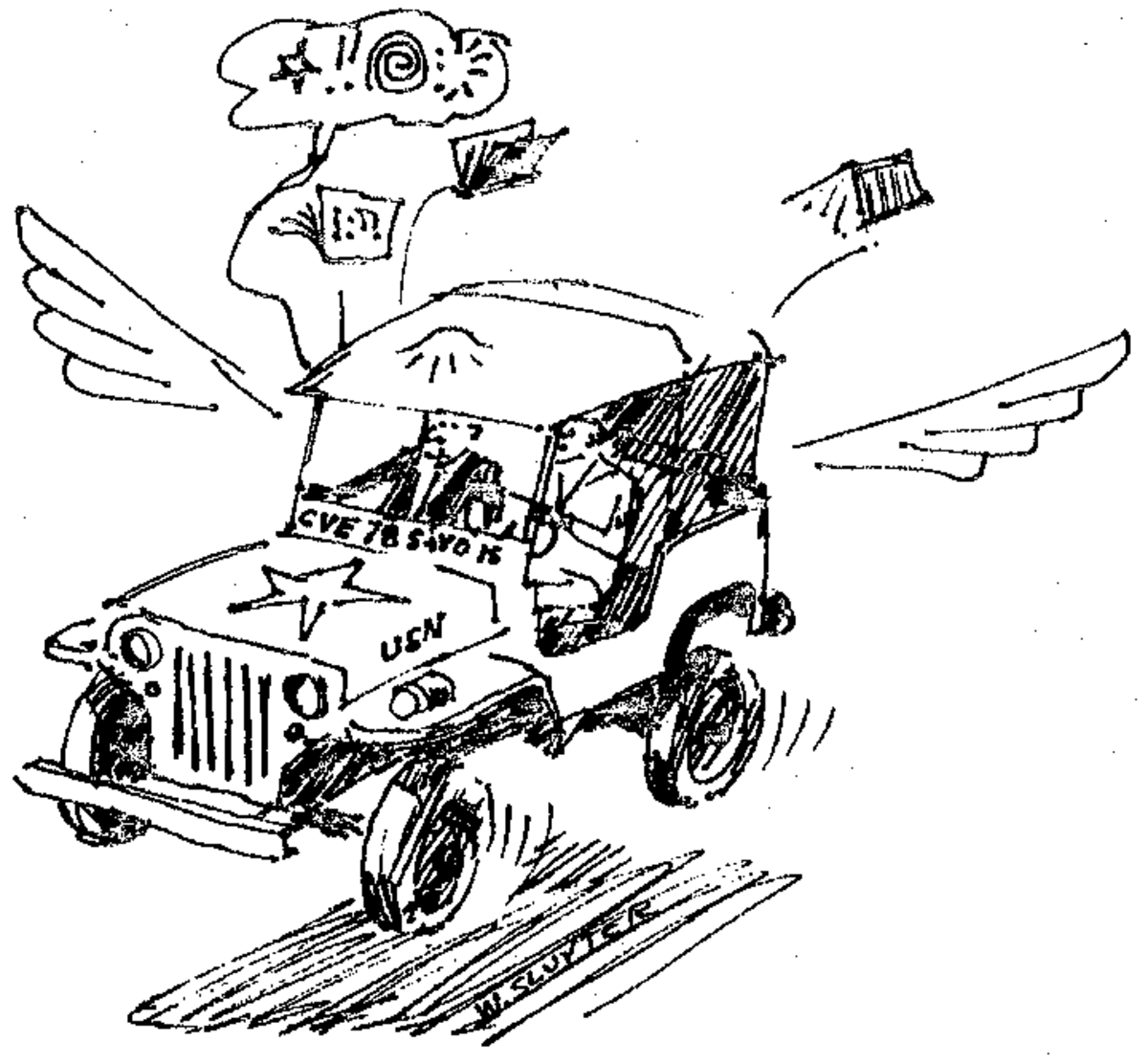 Cartoon drawing of the flying Jeep and chaplain of CVE 78