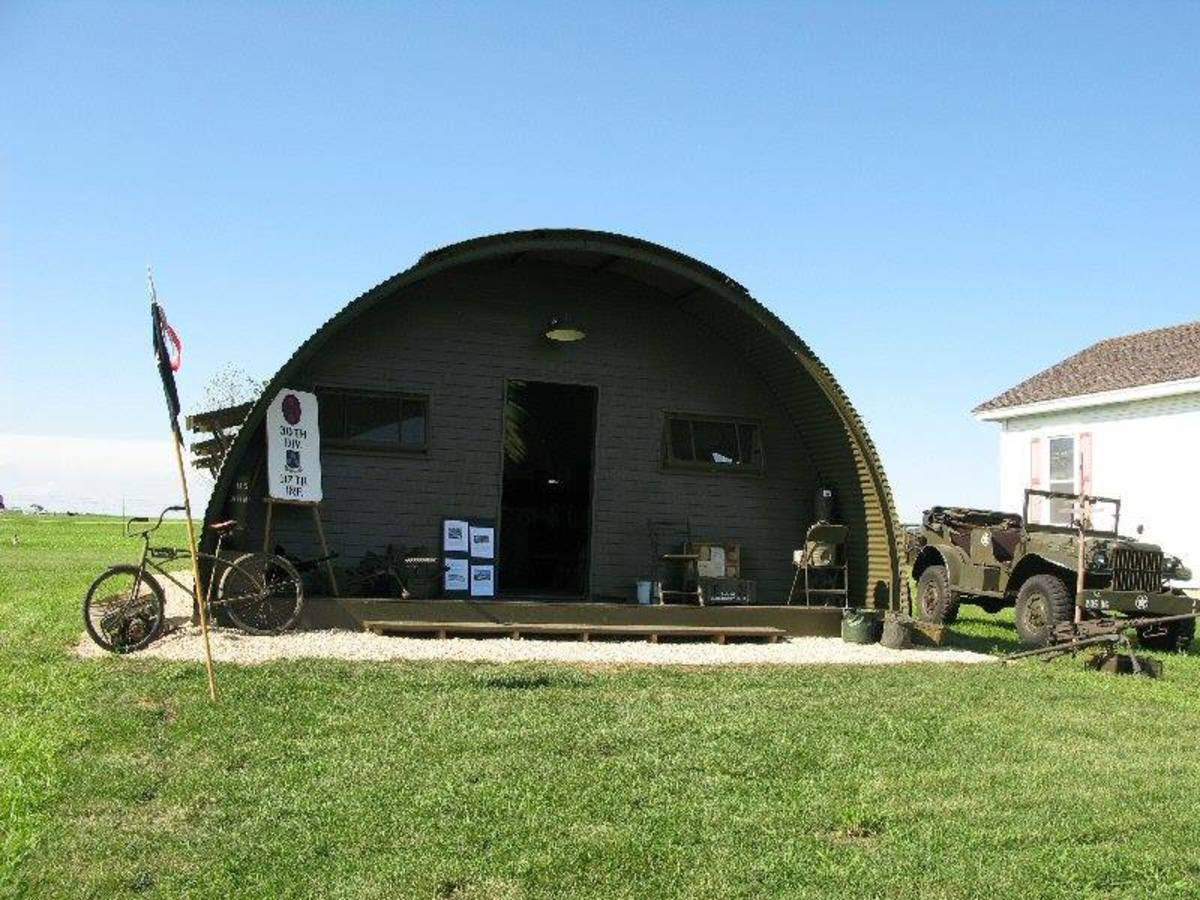 The rebuilt and restored WWII Quonset hut at Camp Hastings Living History Museum in Minnesota,