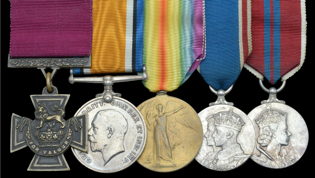 The outstanding Great War 1918 'Final Advance to Victory' V.C. group of five awarded to 21-year-old Lancashire Lad Private James Towers, 2nd Battalion, The Cameronians (Scottish Rifles) sold for £248,000 by Dix Noonan Webb in April 2021.