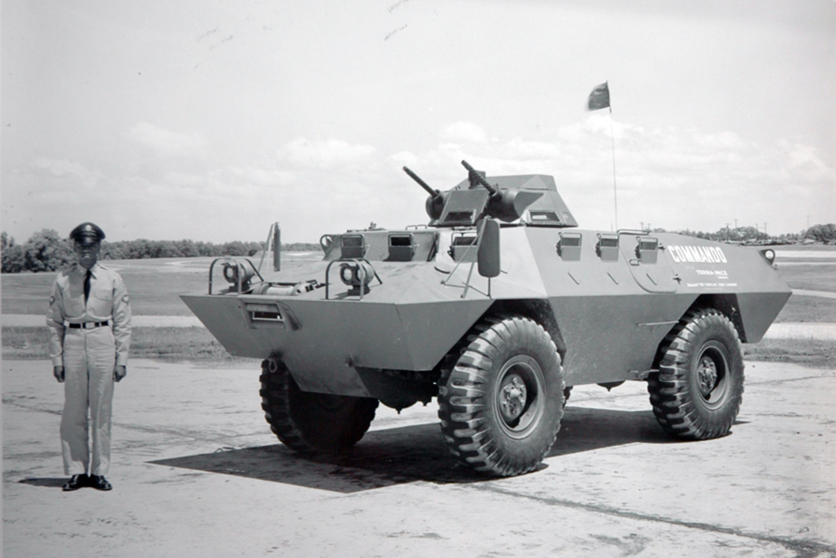 No fewer than four different turrets were tested on the prototype commando, and numerous weapons combinations, including this one with twin .30 caliber machine guns.
