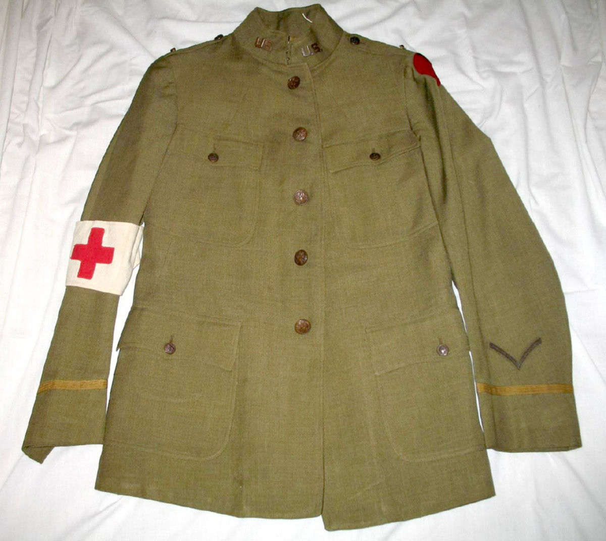 Chaplain Arthur A. LeMay's privately purchased officer's uniform was patterned on the Model 1917 Army tunic. Alder & Brothers of Rochester, New York, one of the city's finest clothiers, produced the high quality and well-tailored tunic.