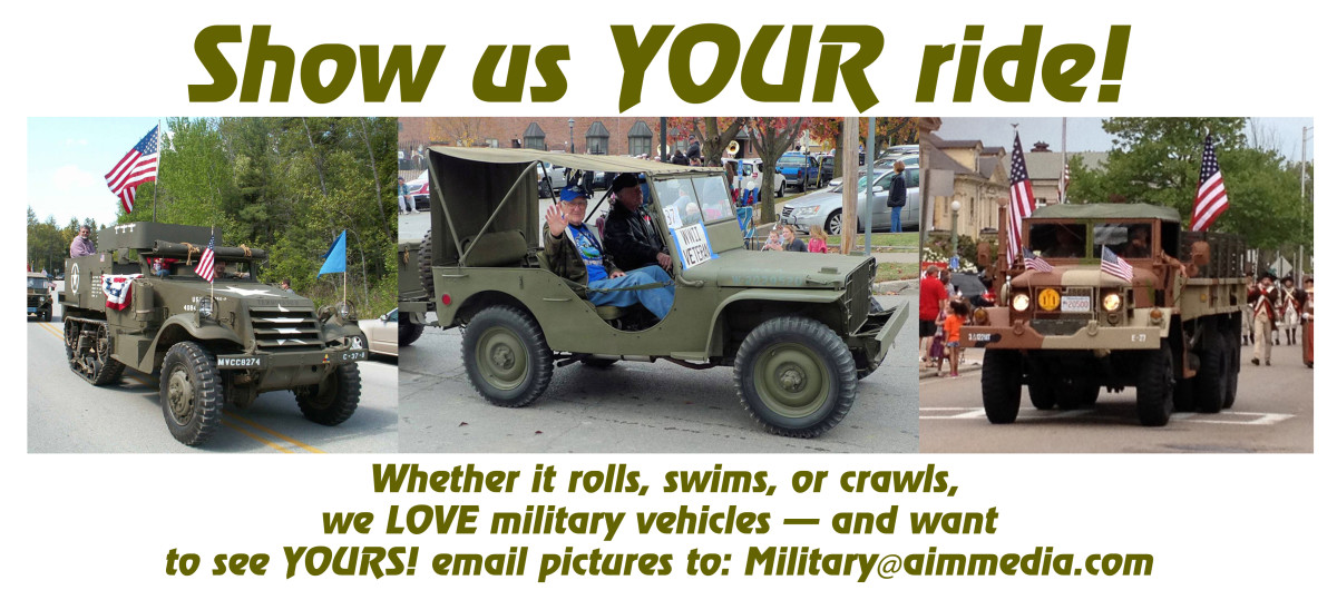 Compilation photo of three privately owned military vehicles with the invitation to send photos of your own vehicle to Military@aimmedia.com