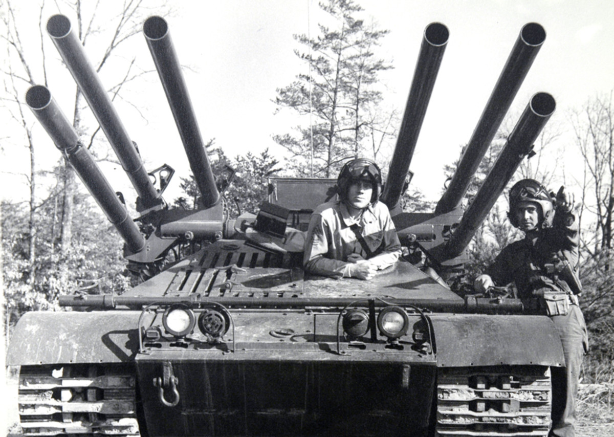 Head-on view of one of the most bizarre-looking vehicles ever fielded by the U.S. military: the M50 Ontos.