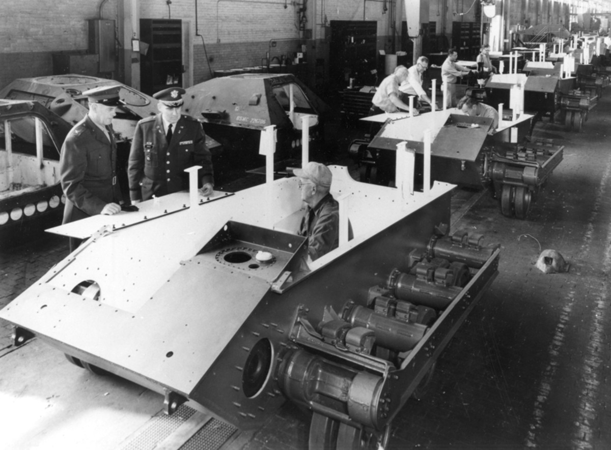 Ontos chassis move along the Allis-Chalmers LaPorte, Indiana assembly line. Early in the program, warping of the armor plates during welding caused alignment problems with the suspension units, which were unique to the Ontos.