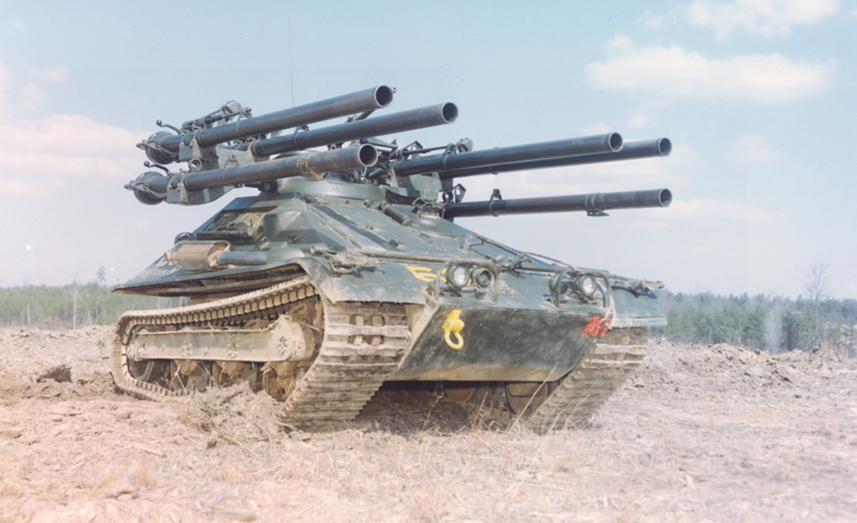 Period color image of a Marine Ontos in the field
