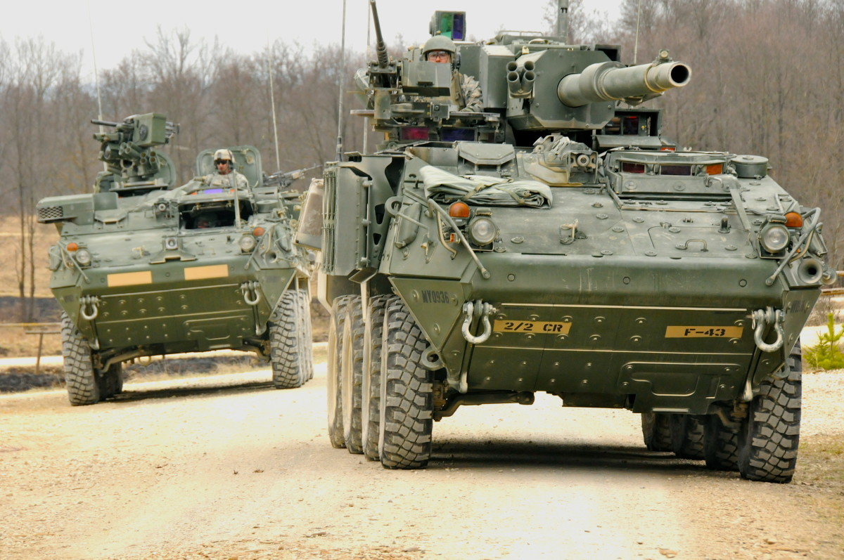 U.S. Army M1128 Stryker Mobile Gun System from 2nd Squadron, 2nd Cavalry Regiment, leads convoy during Platoon Live Fire Exercise on Grafenwoehr Training Area, Germany, March 29, 2012.
