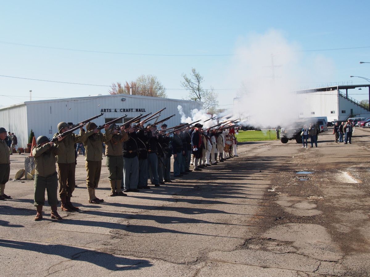 A firing demonstration included soldiers of different eras
