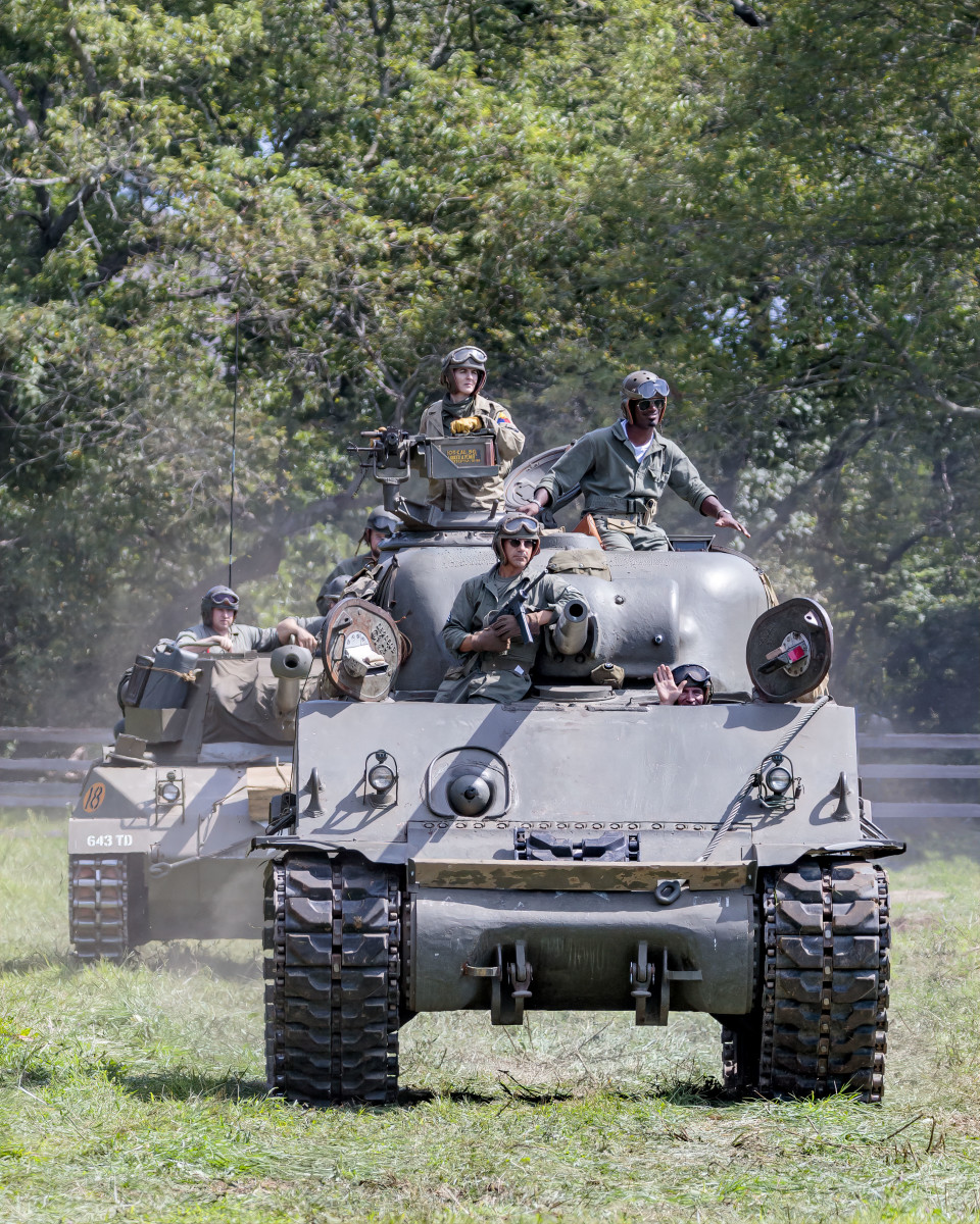Armor moves in position at Old Bethpage during WWII Weekend.